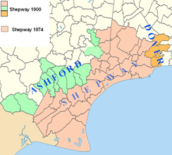 Map showing Shepway in 1900 compared with Shepway in 1974, with the parishes now in Dover and Ashford Districts so indicated