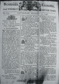 Bermuda Gazette of 12 November 1796, calling for privateering against Spain and its allies during the 1796 to 1808 Anglo-Spanish War, and with advertisements for crew for two privateer vessels.