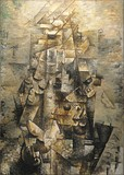 Georges Braque, 1911–12, Man with a Guitar (Figure, L'homme à la guitare), oil on canvas, 116.2 x 80.9 cm (45.75 x 31.9 in), Museum of Modern Art, New York