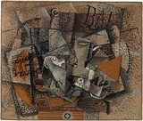 Georges Braque, 1913–14, Still Life on a Table (Duo pour Flute), oil on canvas, 45.7 × 55.2 cm, Lauder Cubist Collection, Metropolitan Museum of Art, New York
