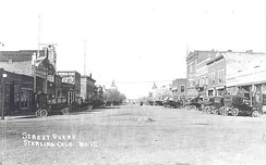 Sterling's Main Street in the 1920s, looking northwest from the railroad tracks.