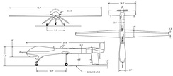 RQ-1B Predator 3-view drawing
