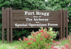 Entrance sign to Fort Bragg