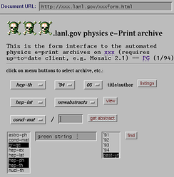 A screenshot of the arXiv taken in 1994,[8] using the browser NCSA Mosaic. At the time, HTML forms were a new technology.
