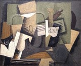 Georges Braque, 1918, Rhum et guitare (Rum and Guitar), oil on canvas, 60 x 73 cm, Colección Abelló, Madrid
