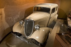 A replica, made for the film, of the Ford V8 in which Bonnie and Clyde died, is on display at the Alcatraz East museum