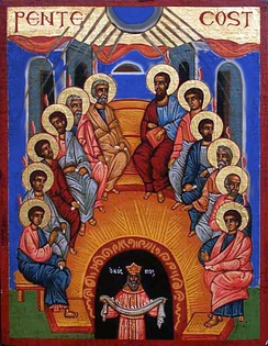 "An Eastern icon depicting the Descent of the Holy Spirit. The date of Pentecost is considered the ""Birthday of the Church""."
