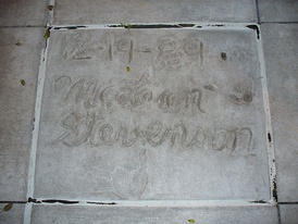 The handprints of Stevenson in front of Hollywood Hills Amphitheater at Walt Disney World's Disney's Hollywood Studios theme park