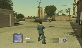 The HUD from the Wii version of Scarface. On the left is the mini-map, currently selected weapon, and cash Montana has laundered. On the right is the amount of cocaine Montana currently possesses and his dirty cash, which he has yet to place in the bank. To the right again are Montana's health meter and rage meter (the outer white circle).
