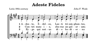 Vocal music can be contracted into two staves, using the treble and bass clefs.