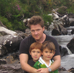 Logue with his children in Ireland in 2007