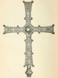 Engraving of the Cross of Cong, an Irish processional cross decorated with elements of Insular art and Urnes style decoration, early 12th century[5]