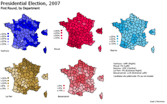 Results of candidates with over 3% of votes in the first round, by departments of Metropolitan France.