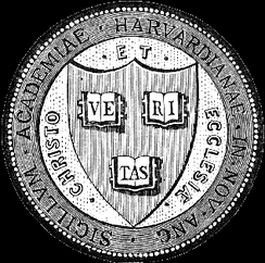 "The official seal of the Harvard Corporation. Found on Harvard diplomas, it carries the university's original motto, Christo et Ecclesiae (""For Christ and Church"")[1][2], later changed to Veritas (""Truth"").[2]"