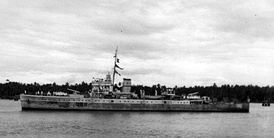 HMIS Hindustan at Bombay Harbour after the war, was occupied by mutineers during the Royal Indian Navy Mutiny.