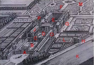 Hampton Court Palace, with marked reference points referred to on this page. A: West Front & Main Entrance; B: Base Court; C: Clock Tower; D: Clock Court, E: Fountain Court; F: East Front; G: South Front; H: Banqueting House; J: Great Hall; K: River Thames; L: Pond Gardens; M: East Gardens; O: Cardinal Wolsey's Rooms; P: Chapel