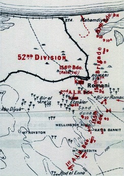 Romani defences at nightfall 3 August 1916: details of redoubts numbered 1 to 11 and 21 to 23