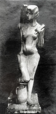 Joseph Csaky, 1912, Danseuse (Femme à l'éventail, Femme à la cruche), original plaster, exhibited at the 1912 Salon d'Automne and the 1914 Salon des Indépendants, a Proto-Art Deco sculpture