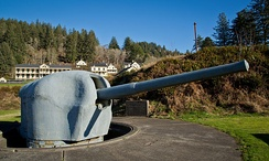 6-inch gun M1905 from Fort McAndrew on shielded barbette carriage at Fort Columbia State Park, Washington state