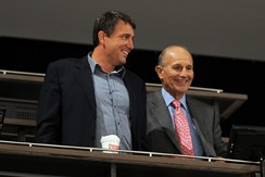 Former Bruins winger and current president Cam Neely, and owner Jeremy Jacobs.