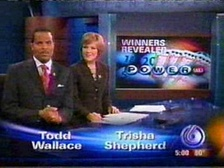 Former primary weeknight anchors, Todd Wallace and Trisha Shepherd, taken in 2007; Wallace and Shepherd respectively left WRTV in 2010 and 2011.