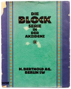 The cover of a 1921 specimen of Berthold Block. Note the alternate 'S' on SW.
