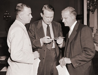 Alabama Democrat Joe Starnes with Chairman Martin Dies and Chief Investigator J. B. Matthews, Aug. 1938.
