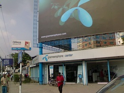 Telenor (Grameenphone) franchise retail center in Tejgaon, Bangladesh.