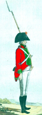 Private of the Hibernia Regiment, in typical red jacket and green facings, late 18th century(Bueno Correa 1986)