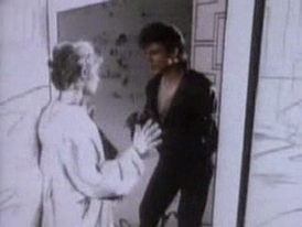 Lead singer Morten Harket and actress Bunty Bailey in a scene from the music video, which features them in a pencil-sketch animation / live-action combination called rotoscoping.