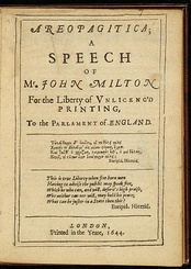 First page of John Milton's 1644 edition of Areopagitica, in which he argued forcefully against the Licensing Order of 1643