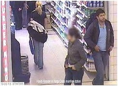 Hasib Hussain, who detonated the bus bomb in Tavistock Square, is captured on CCTV leaving a Boots store on the King's Cross station concourse at 9 am on 7 July 2005