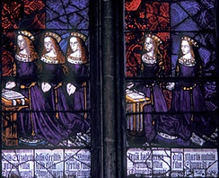 The five daughters of King Edward IV (1461–1483) and Elizabeth Woodville, (left to right): Elizabeth, Cecily, Anne, Catherine, and Bridget. Royal Window, Northwest Transept, Canterbury Cathedral