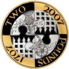 The £2 coin issued in the United Kingdom in 2007 to commemorate the 300th anniversary of the Acts of Union