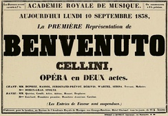 advertising poster giving title, date and venue of operatic premiere