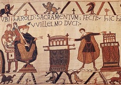 King Harold II of England (right) at the Norman court, from the Bayeux Tapestry