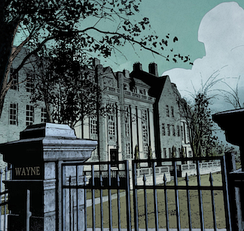 Wayne Manor with its surrounding gate in Batman vol. 3, #42 (May 2017). Art by Mikel Janín.