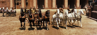 The chariot race scene, illustrating the extremely wide aspect ratio used (2.76:1).