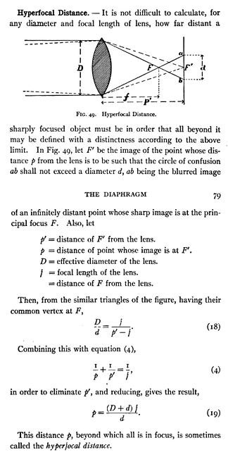 This early use of the term hyperfocal distance, Derr 1906, is by no means the earliest explanation of the concept.