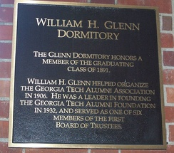A commemorative plaque on Glenn Hall
