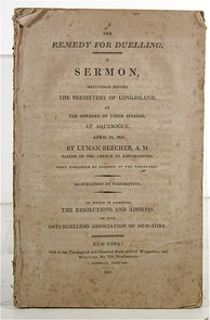 "Cover of ""The Remedy for Dueling,"" a pamphlet with the text of his 1807 sermon"