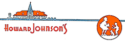 "Corporate logo of the Howard Johnson's company, circa World War II, showing a depiction of an orange-roofed restaurant, characteristic typeface, and ""Simple Simon and the Pieman"" logo."