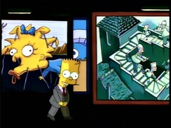"Bart Simpson introducing a segment of ""Treehouse of Horror IV"" in the manner of Rod Serling's Night Gallery"