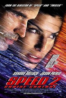 "The faces of Jason Patric and Sandra Bullock and shown among streaks of diagonal lines in blue and orange. The top reads ""From the director of 'Speed' and 'Twister'"" and right side reads ""Rush Hour Hits the Water"". The bottom features Sandra Bullock's and Jason Patric's names, followed by ""Speed 2"" and ""Cruise Control"" in red text, with film credits underneath."