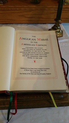 The Anglican Missal sitting on an altar desk in an Anglican parish church