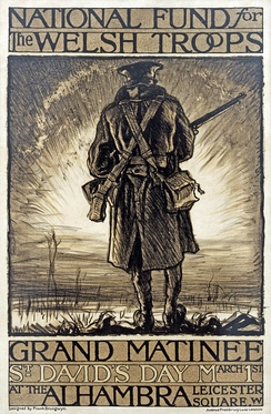 Poster for a fundraising event in support of Welsh troops by Frank Brangwyn