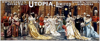 The drawing room scene from Act II of Utopia, Limited