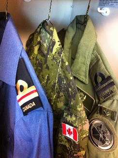 Operational dress uniforms for the three branches of the Canadian Armed Forces. Whereas field uniforms display ranks on the chest, naval and air uniforms display ranks on the shoulder.