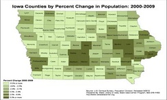 Percent population changes by counties in Iowa, 2000–2009. Dark green counties have gains of more than 5%.[77]