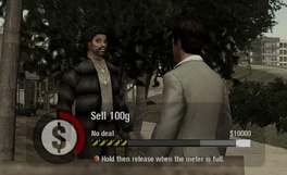 "The PlayStation 2 version ""golf swing"" minigame used for cocaine deals, bribing cops and intimidating gangs. Here Montana is selling cocaine to a street dealer. The player must try to land the meter in the white zone on the right to get maximum profit. If the meter lands in the ""no deal"" zone, Montana will be attacked."